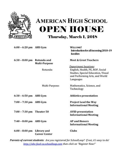 AHS OPEN HOUSE - MARCH 1, 2018