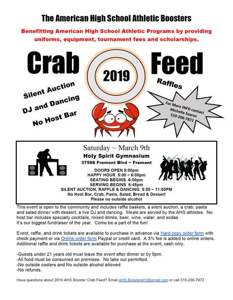 AHS BOOSTERS CRAB FEED 2019